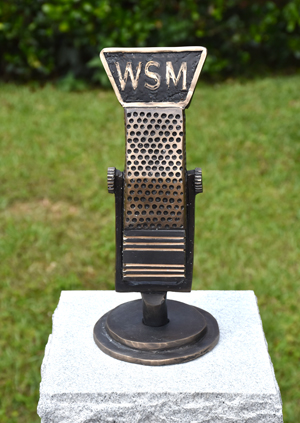 Bronze sculpture of classic microphone