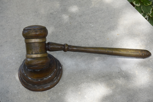 Bronze sculpture of justice gavel