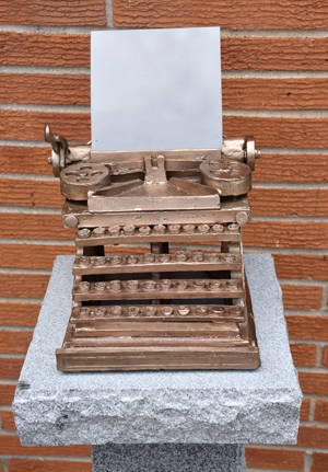 Bronze sculpture of classic typewriter